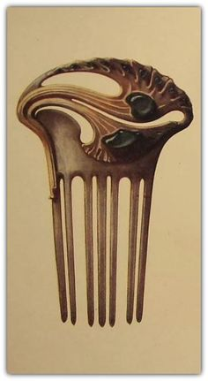 Vintage Hair Comb by Paul Follot 1902 Hair Jewelry, Jewelry Art, Antique Jewelry, Vintage Jewelry, Jewelry Design, Bijoux Art Nouveau, Art Nouveau Jewelry, Vintage Hair Combs, Barrettes