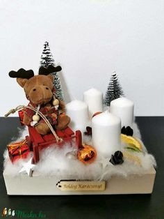 Szánkozó szarvas asztaldísz (tamasszabina0708) - Meska.hu Advent Candles, Xmas Decorations, Christmas Ornaments, Holiday Decor, Christmas Jewelry, Christmas Decorations, Christmas Door Decorations, Christmas Decor, Christmas Decor
