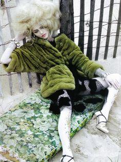 Vogue Italia October 2009 Sasha Pivovarova by Craig McDean Dress: Fendi | Fall 2009 RTW Fur: Carlo Tivioli | Fall 2009