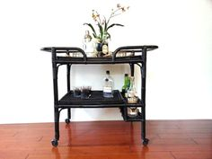 Black Bar Cart ~ Vintage Mid Century Rattan Bamboo Tea Cart Bar Trolley Serving Cart Buffet / Serving on Etsy, $325.00