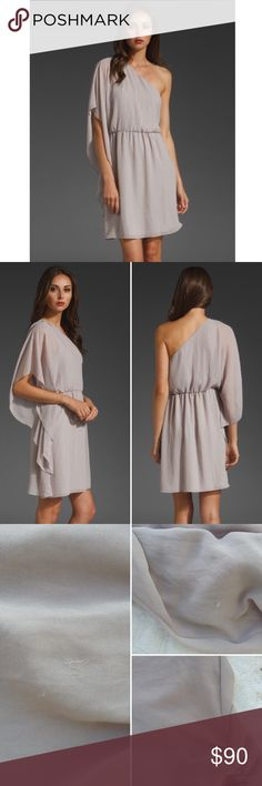 """Alice and Olivia drape blouse dress FLAWS A + O drape blouson dress in metallic gray. 100% polyester. Fully lined. Unique shape and look that is flattering with a hint of skin. Sure to be one of a kind!  ‼️ Minor flaws hence the significantly reduced price. You could try dry cleaning it, I haven't. Small stain at the top and a few strings pulled. Still completely wearable.   SIZE: M waist: 13.5"""" (elastic stretch) length: 37""""  ❌ no trades ✔️offers welcome! ❣️add to bundle for **discounted…"""
