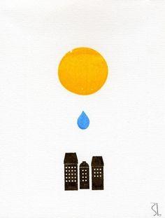 sunny rainy city: Love this gocco print.