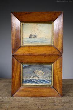 Antiques Atlas - Pair Early 19th Century Antique HMS Trafalgar Watercolour Paintings. Watercolor Paintings, Watercolours, Antiques For Sale, Antique Photos, Trafalgar, Oil On Canvas, Charity, 19th Century, Fine Art