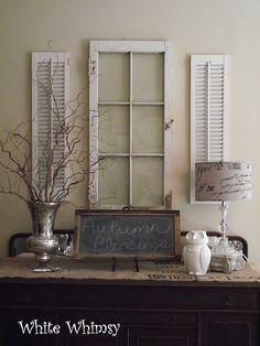 White shutters & window as a wall feature. Love everything on the table too - White shutters & window as a wall feature. Love everything on the table too - Rustic Shutters, White Shutters, Diy Shutters, Bedroom Shutters, Primitive Shutters, Kitchen Shutters, Window Shutters, Country Decor, Rustic Decor