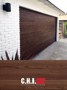 Portray a non-repeating wood grain to achieve the warmth, appeal, and beauty of a handcrafted wood garage door while providing the strength and durability of steel. Shown: Planks in Dark Oak. Source: Door Dorks Faux Wood Garage Door, Garage Door Windows, Windows And Doors, Black Window Frames, Types Of Insulation, Window Types, Planks, Wood Grain, Brick