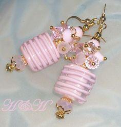 Lampwork Earrings Pink Lampwork Earrings by hhjewelrydesigns, $28.00