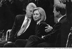 President Clinton, Hillary Clinton and Vice President Al Gore attend an event in the Rose Garden.