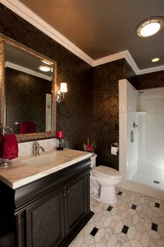 Traditional 3/4 Bathroom with Hitchcock butterfield company antique silver framed wall mirror, Complex Marble, Wall sconce