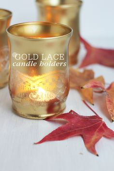 Gold Lace Candle Hol