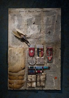 Example: Ron Pippin, Manuscript No. [Can be shown as an example of how an assemblage artist combines and layers paper and objects to create meaning. Collages, Mixed Media Collage, Collage Art, Altered Books, Altered Art, Found Object Art, A Level Art, Assemblage Art, Bookbinding