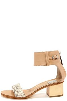 Dolce Vita Foxie Natural Snake Ankle Strap Leather Sandals