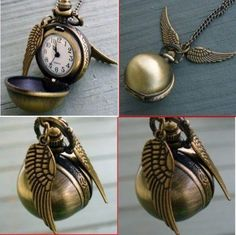 Harry Potter Snitch Watch Pendant Necklace Steampunk Quidditch Wings Clock