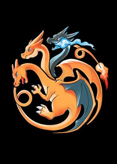 """Fire, Flying and Dragon"" by alemaglia Charizard, Mega Charizard Y, and Mega Charizard X in the style of the House Targaryen sigil Pokemon Life, Pokemon Comics, Pokemon Memes, Pokemon Fan Art, Charmander Charmeleon Charizard, Pokemon Rayquaza, Pokemon Charizard, Dragon Type Pokemon, Fire Pokemon"