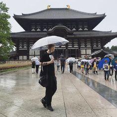 "Kimmo on Instagram: ""Rainy day in Nara ☔️ 。 。 。 #nara #todaiji #commedesgarcons #nike #ladmusician #奈良 #東大寺 #コムデギャルソン #ラッドミュージシャン #ニケ"" Travel Brochure, Street View, Instagram"