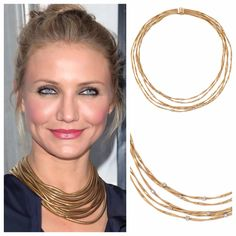 Cameron Diaz sparkles in gold & our Marco Bicego necklace is the perfect match.
