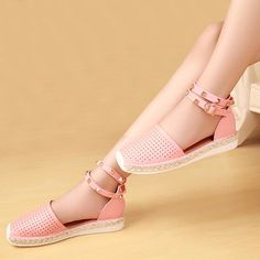 US Size 5-12 Women Hollow Out Breathable Rivet Stappy Buckle Knitting Flat Roman - US$29.75