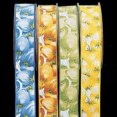 "Blue Tropical Fruit Print Cotton Wired Edge Craft Ribbon 1.5"" x 22 Yards * Check this awesome product by going to the link at the image."