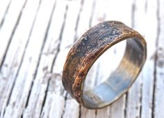 bande de bronze bague argent mens uniques bague par CrazyAssJD