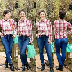 LEILA DINIZ advogada blogueira youtuber: #LOOK camisa XADREZ + calça JEANS CINTURA SUPER AL...