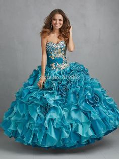 Cheap dress popular, Buy Quality gown with lace sleeves directly from China dress prints Suppliers: Strapless Beaded Bodice Ruffle Organza Turquoise Ball Gown Prom Dresses color chart: 1.satin:2.chiffon:3.taffe