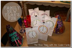 Family New Year's Eve Fun - an activity every hour or so.  Love this idea.