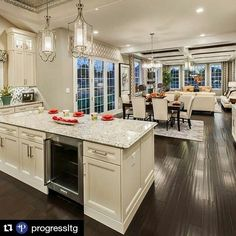 Loving this open concept by - Home Decor is the best. Open Concept Home, Open Concept Kitchen, Open Concept Floor Plans, Living Room Open Concept, Open Concept Great Room, Living Room And Kitchen Design, Living Room Designs, Living Rooms, Home Kitchens