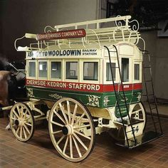 This double-decker horse-drawn bus was made in the and used in the Chermside-Windsor area, Queensland, Australia, between 1912 and Four to six horses pulled the bus. Vintage Cars, Antique Cars, Horse Drawn Wagon, Wooden Wagon, Old Wagons, Horse And Buggy, Caravan, Horse Carriage, Gypsy Wagon