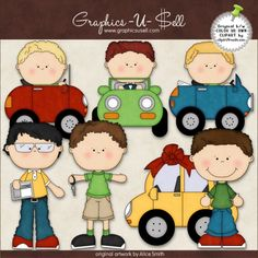 Boys In Cars 1 - Whimsical Clip Art by Alice Smith