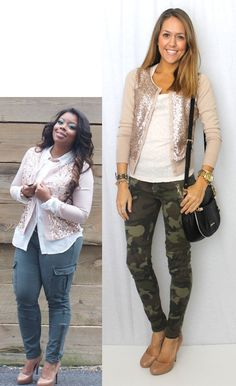 1. Olive jeans + B&W shimmery top + cream lace Sw