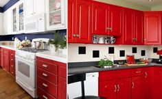 Paint cupboards  Sand down your cupboards and give them a makeover. Choose bright, bold colours to inject some summer into your home