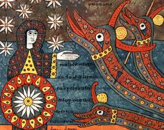The Dragon and the Woman clothed with the Sun. Beatus of Liébana, Silos Apocalypse. Northern Spain, 1091-1109. British Library.
