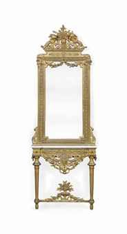 A FRENCH GILT-WOOD AND MECCA HEIGHTENED COMPOSITION CONSOLE TABLE AND MIRROR EN SUITE  OF LOUIS XVI STYLE, LATE 19TH CENTURY