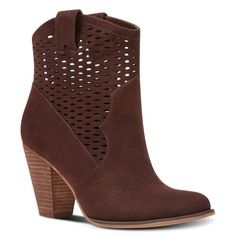Nine West Xylie Perforated Booties ($119) ❤ liked on Polyvore featuring shoes, boots, ankle booties, brown, high heel cowgirl boots, brown booties, brown boots, cowgirl booties and brown cowboy boots