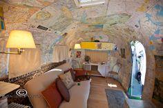 Map Wallpaper inside a Vintage Airstream - So Friggin\' Cool - Cedar Key Florida - Tin Can Tourists