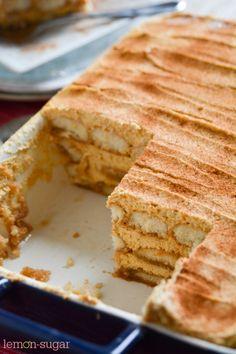 Pumpkin Tiramisu - Lemon Sugar - I Cook Different Fall Desserts, Just Desserts, Dessert Recipes, Italian Desserts, Thanksgiving Recipes, Fall Recipes, Holiday Recipes, Tiramisu Dessert, Poblano