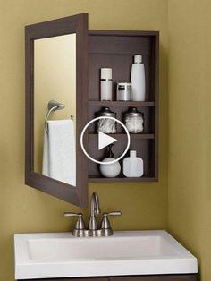 7 ideas para baños p Diy Organisation, Bathroom Organization, Bathroom Mirror Cabinet, Mirror Cabinets, Home Depot, Clothes Folding Board, Living Room Tv Unit Designs, Cute Dorm Rooms, Diy Wall Decor
