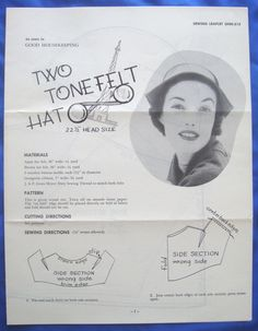 vintage Good Housekeeping TWO TONE FELT HAT millinery accessory sewing pattern | eBay