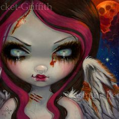 Faces of Faery 234 fairy face art print by Jasmine Becket-Griffith 6x6 angel fairy zombie blood bloody red moon