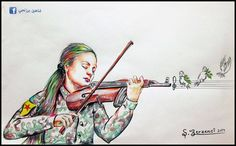 Female Soldier, Garden Of Eden, Freedom Fighters, What Goes On, Optical Illusions, Violin, Illustration Art, Places To Visit, Sketches