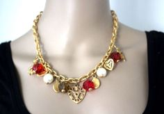 Vintage Couture Ornate Gold Plated Heart Cherub Charm Dangle Choker Necklace