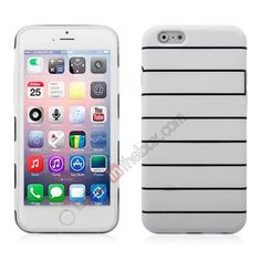 Stripes Soft TPU Gel Case Cover For 4.7 iPhone 6 - White US$4.39