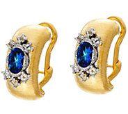 Genesi 18K Clad Blue Topaz Omega Back Earrings - J330560