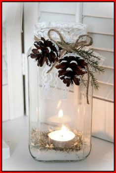 Everyone loves candles because they create a cozy and warm atmosphere everywhere, and I think there's no more appropriate thing for winter wedding décor than candles. Candles are awesome for centerpieces. Noel Christmas, Country Christmas, All Things Christmas, Christmas Wedding, Winter Christmas, Christmas Crafts, Simple Christmas, Beautiful Christmas, Christmas Ribbon