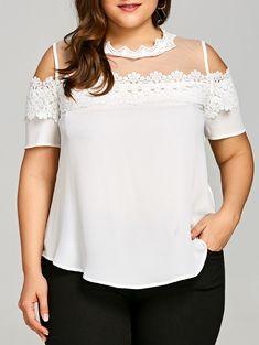 Plus Size Lace Trim Cold Shoulder Blouse - WHITE 5XL
