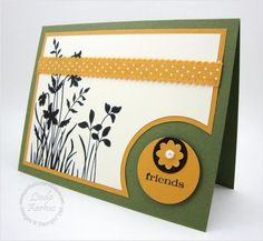 handmade card ... paper engineering caught my eye ... luf the circle sentiment die cut popped off the base card ... and larger circles in off-the-edges cut away to make room for it ... fun card ... Stampin' Up!