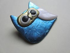 Owl Pin Brooch in blue embossed floral with pale by Pinderella, $11.95