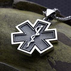 Small Size Star of Life EMS EMT Paramedic Medical Alert Solid Back Sterling Silver Necklace Pendant David Daffer Designs  #daviddafferdesigns