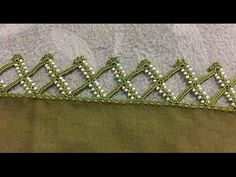 This Pin was discovered by Azr Crochet Border Patterns, Crochet Lace Edging, Crochet Edgings, Lace Saree, Saree Tassels, Crochet Cord, Hand Embroidery Flowers, Tatting Jewelry, Beading Tutorials