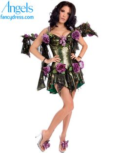 d36c3cb8ec The Dark Fairy fancy dress costume comes as a matching set of deep forest  green and gold mini dress and wings. The dress is trimmed with purple  flowers.