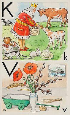 "ELSA BESKOW, ""K-Kung och V-Vallmo"". Signed E.B. From ""Vill du läsa I"", page 16, picture 24, 25.... - The Spring Classic Sale, Stockholm 562 – Bukowskis"
